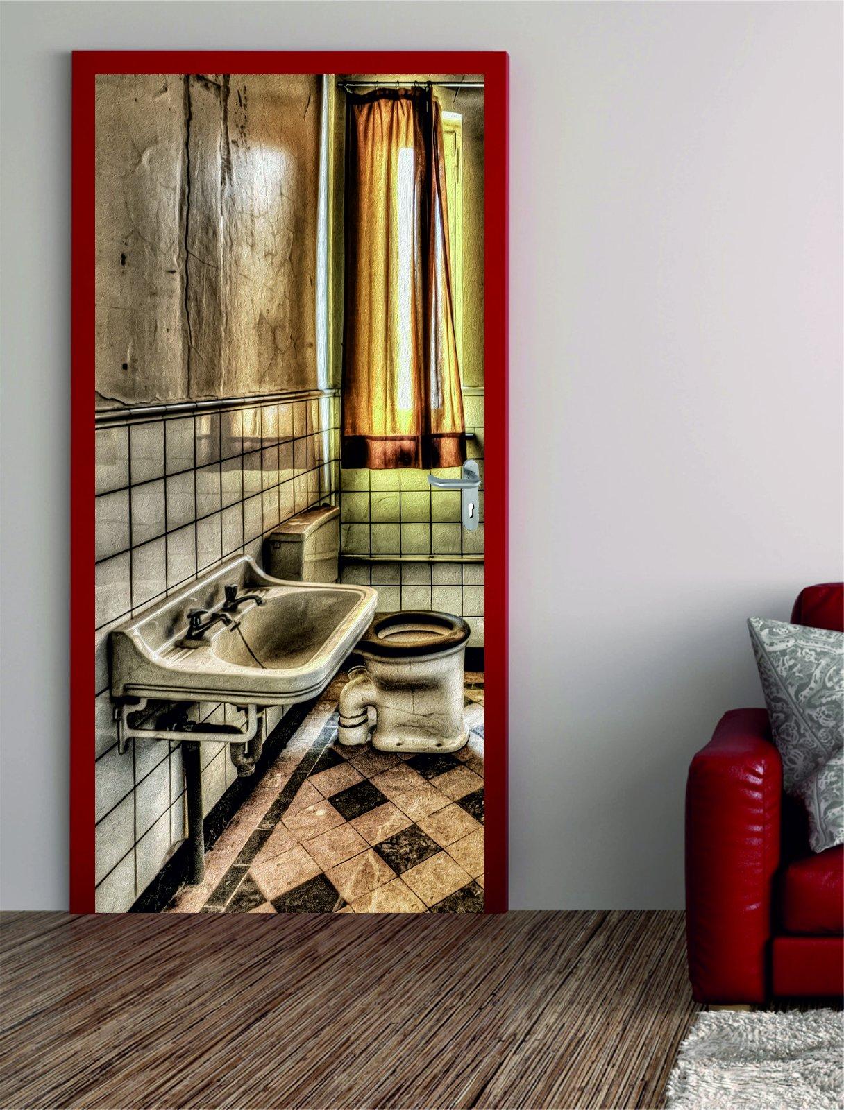 t rposter altes badezimmer t raufkleber t rfolie t rtapete. Black Bedroom Furniture Sets. Home Design Ideas