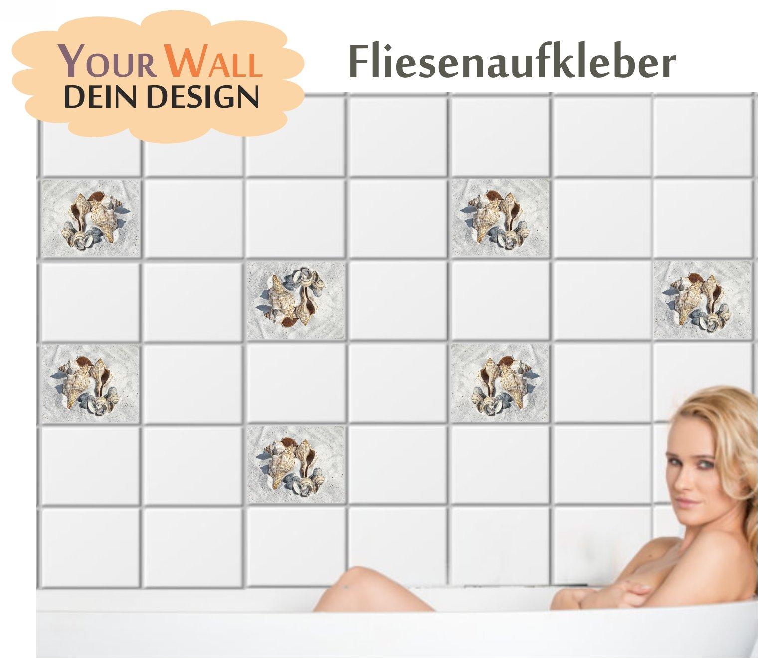 fliesenaufkleber muscheln fliesen sticker bad k che kachel natur sand b110 n ebay. Black Bedroom Furniture Sets. Home Design Ideas