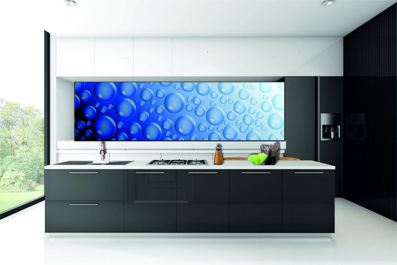 k chenr ckwand hart pvc selbstklebend wassertropfen blau kfs28 ebay. Black Bedroom Furniture Sets. Home Design Ideas