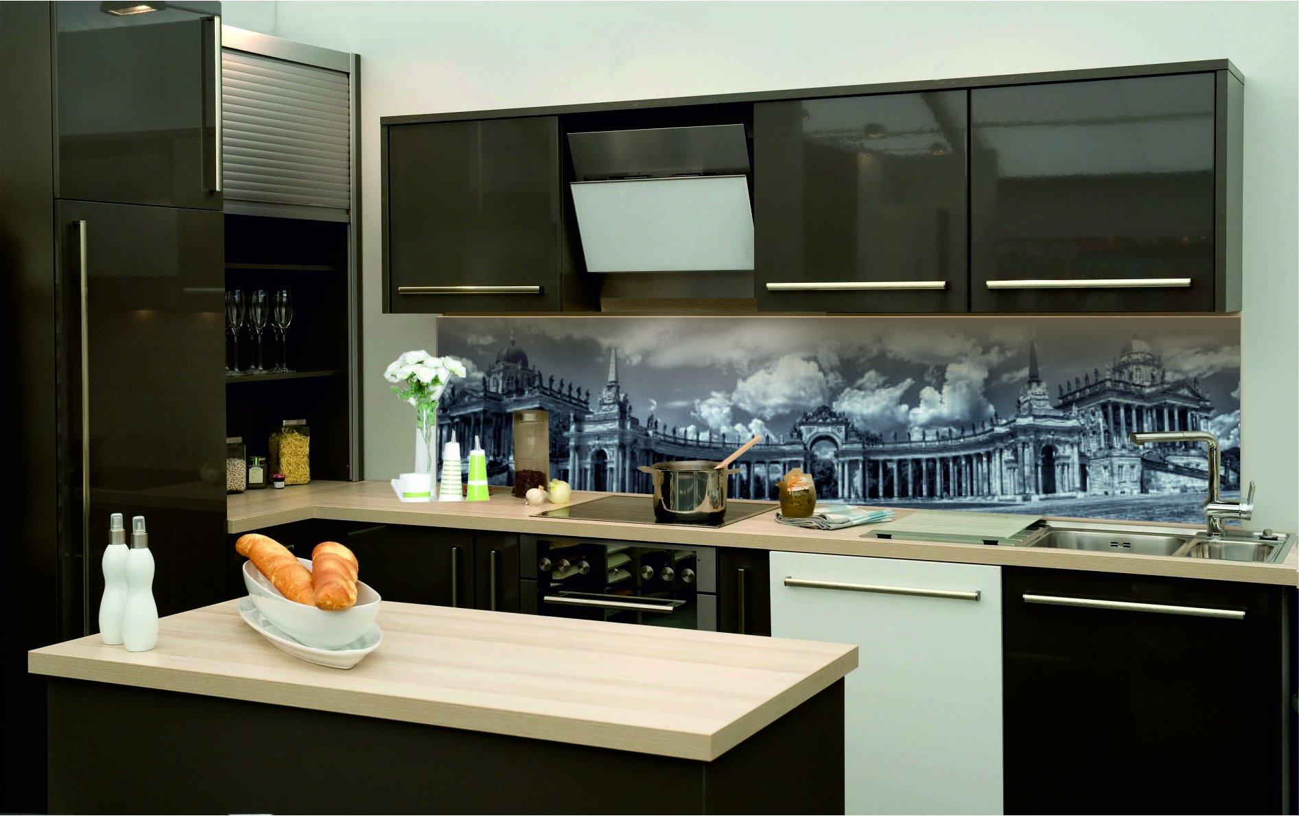 k chenr ckwand hart pvc selbstklebend schwarz weiss monumental kfs71 ebay. Black Bedroom Furniture Sets. Home Design Ideas