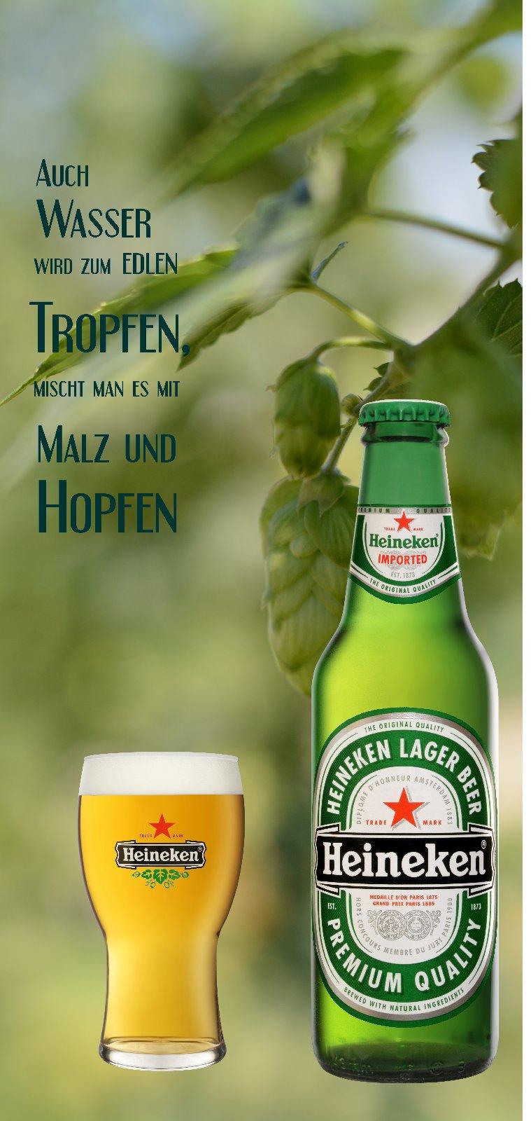 Türposter BIER  Türaufkleber Heineken Flasche Glas Werbung Hopfen Spruch  910tp